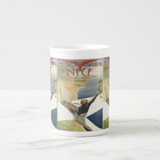 Vintage Travel Poster, Airplane over Nice France Tea Cup