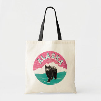 Vintage Travel Poster, Alaska Bear Animal Snow Bags