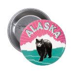 Vintage Travel Poster, Alaska Black Bear in Snow Button