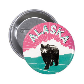 Vintage Travel Poster, Alaska Black Bear in Snow Button