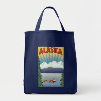 Vintage Travel Poster, Alaska Grocery Tote Bag