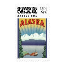 Vintage Travel Poster, Alaska Postage