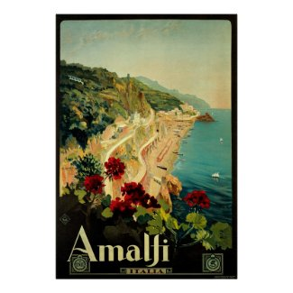 Vintage Travel Poster, Amalfi, Italy travel packing list