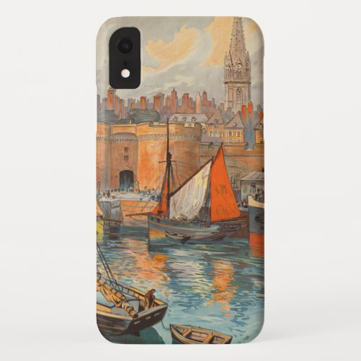 Vintage Travel Poster Art, Saint Malo, France iPhone XR Case