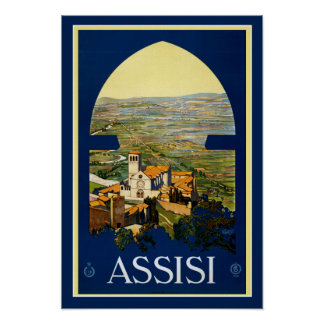 Vintage Travel Poster Assisi Italy