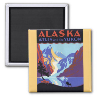 Vintage Travel Poster, Atlin and the Yukon, Alaska 2 Inch Square Magnet