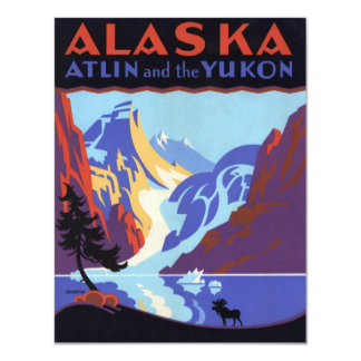 Vintage Travel Poster, Atlin and the Yukon, Alaska 4.25x5.5 Paper Invitation Card