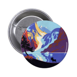 Vintage Travel Poster, Atlin and the Yukon, Alaska 2 Inch Round Button