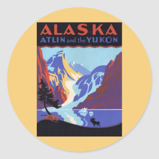 Vintage Travel Poster, Atlin and the Yukon, Alaska Classic Round Sticker