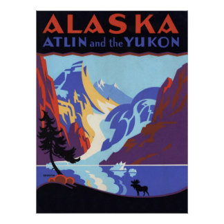 Vintage Travel Poster, Atlin and the Yukon, Alaska Poster