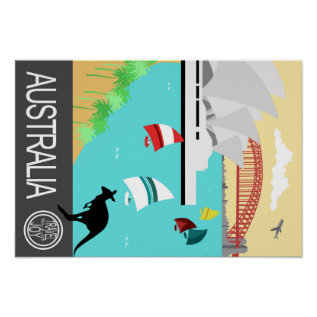 Vintage Travel Poster Australia at Zazzle