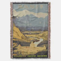 Vintage Travel Poster Banff Canadian Rockies Throw