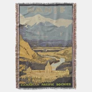 Vintage Travel Poster Banff Canadian Rockies Throw