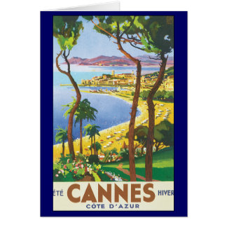 Vintage Travel Poster, Beach in Cannes, France Card