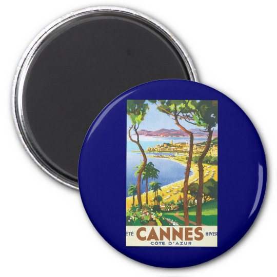 Vintage Travel Poster, Beach in Cannes, France Magnet