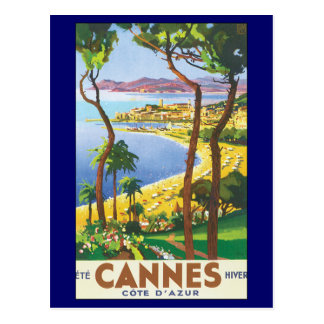 Vintage Travel Poster, Beach in Cannes, France Postcard