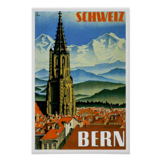 Vintage Travel Poster Bern Switzerland