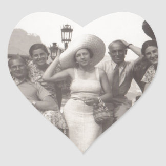 Vintage travel poster black and white photo heart sticker