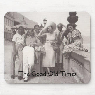 Vintage travel poster black and white photo mousepad