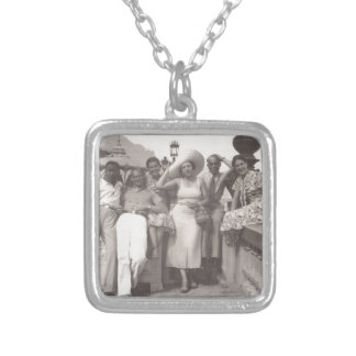 Vintage travel poster black and white photo silver plated necklace