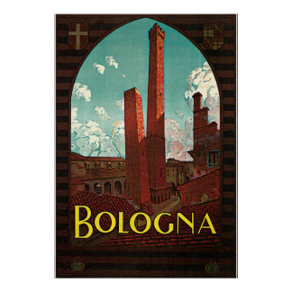 Vintage Travel Poster, Bologna, Italy