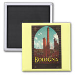 Vintage Travel Poster, Bologna, Italy 2 Inch Square Magnet