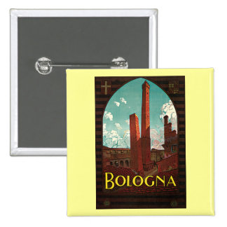 Vintage Travel Poster, Bologna, Italy Button