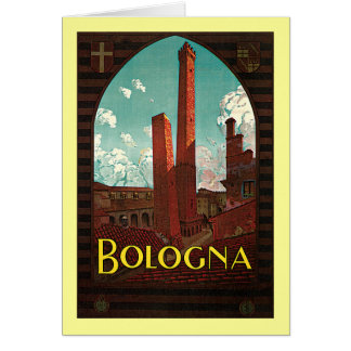 Vintage Travel Poster, Bologna, Italy Card