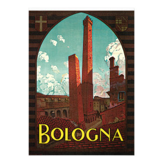 Vintage Travel Poster, Bologna, Italy Personalized Invitations