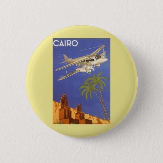 Vintage Travel Poster Cairo Egypt Africa Airplane Button