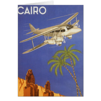 Vintage Travel Poster Cairo Egypt Africa Airplane Greeting Card