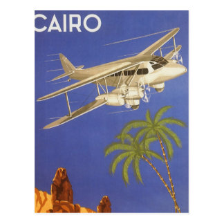Vintage Travel Poster Cairo Egypt Africa Airplane Postcard