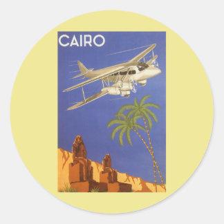 Vintage Travel Poster Cairo Egypt Africa Airplane Round Sticker