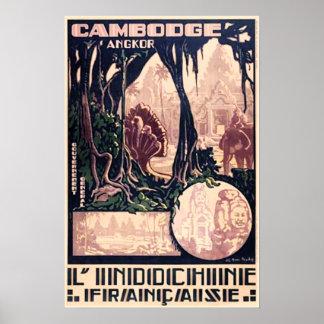 Vintage Travel Poster Cambodia Angkor Wat Temple