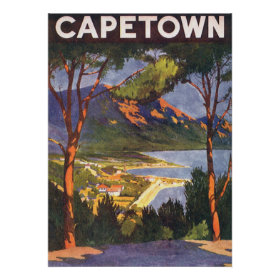 Vintage Travel Poster, Cape Town, South Africa