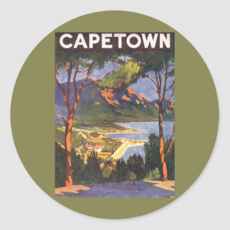 Vintage Travel Poster, Cape Town, South Africa Classic Round Sticker