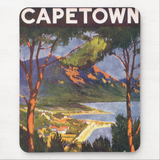 Vintage Travel Poster, Cape Town, South Africa Mouse Pad