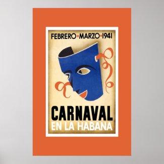 Vintage Travel Poster Carnaval Cuba En La Habana zazzle_print