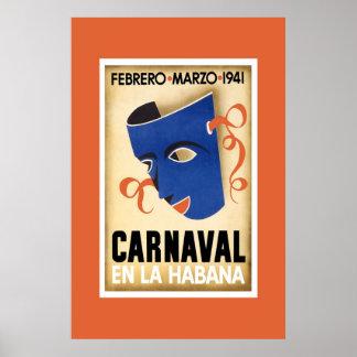 Vintage Travel Poster Carnaval Cuba En La Habana