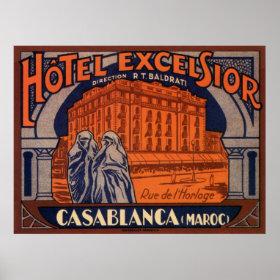Vintage Travel Poster, Casablanca, Morocco, Africa