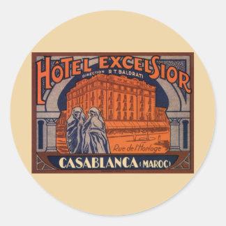 Vintage Travel Poster, Casablanca, Morocco, Africa Classic Round Sticker