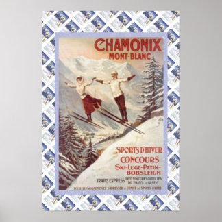 Vintage travel poster, Chamonix, Mont Blanc, Poster