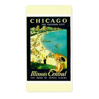 Vintage Travel Poster, Chicago, Illinois Label