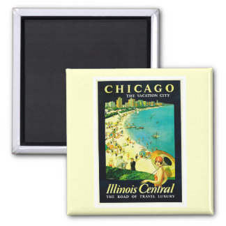 Vintage Travel Poster, Chicago, Illinois Magnets