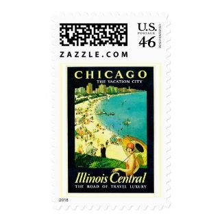Vintage Travel Poster Chicago Illinois Postage