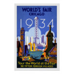Vintage Travel Poster Chicago World's Fair 1934
