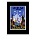 Vintage Travel Poster Chicago World's Fair 1934 2