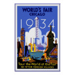 Vintage Travel Poster Chicago World's Fair 3 1934