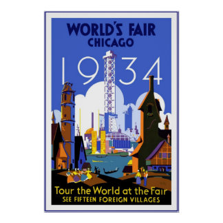 Vintage Travel Poster Chicago World's Fair 3 1934 Posters
