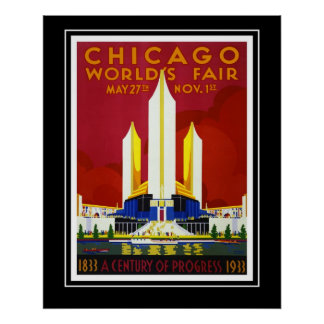 Vintage Travel Poster Chicago World's Fair Large Poster